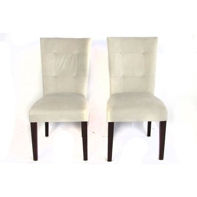 Ivory Microsuede Side Chairs - A Pair - Image 2 of 5