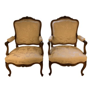 Custom Silk Chinoiserie Upholstered Walnut Bergere Chairs - a Pair For Sale