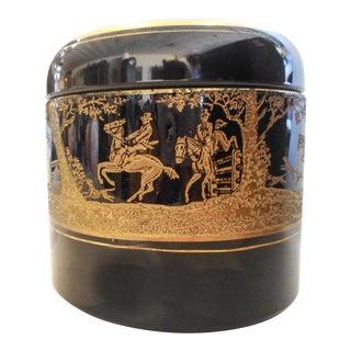 Cambridge No. 882 Ebony Gold Encrusted Imperial Hunt Tobacco Humidor For Sale