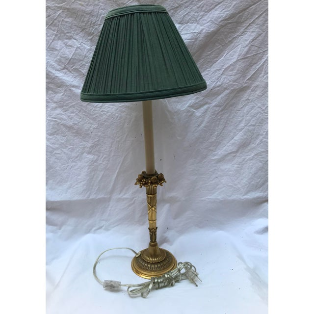 Green Antique Brass Ormolu Candlestick Table Lamp For Sale - Image 8 of 8