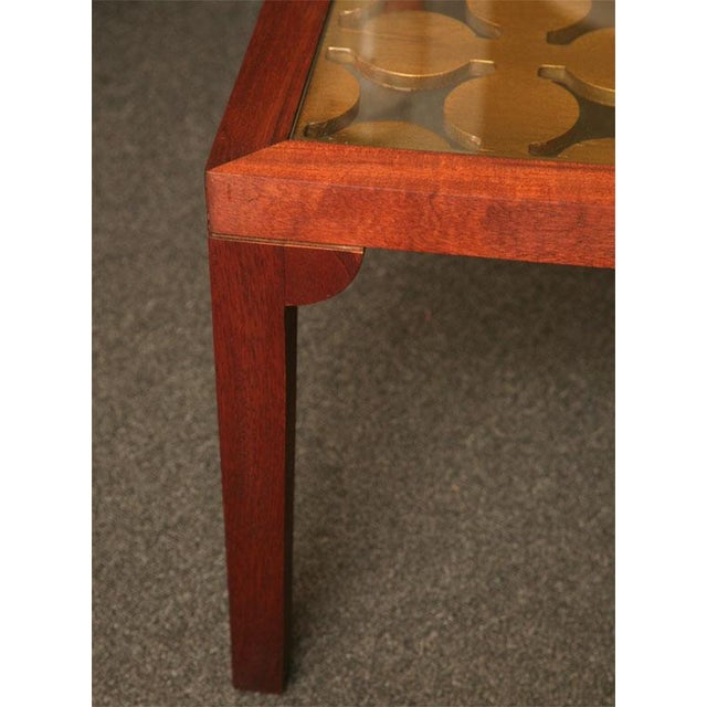 Parzinger Style Classy 50's Mahogany & Giltwood Grille Coffee Table - Image 9 of 13