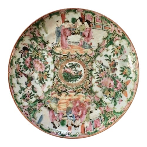 19th Century Chinese Rose Medallion Plate For Sale