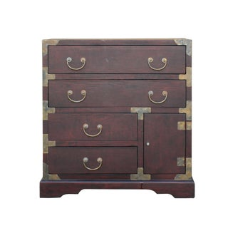 Oriental Asian Metal Hardware Chest of Drawers Cabinet For Sale