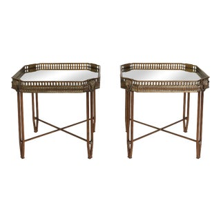 Pair of Maison Jansen-Style Brass & Iron Rams Head Side Tables For Sale