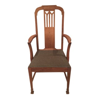 Mission Arts & Crafts Craftsman Wood Arm Chair With Canvas Seat