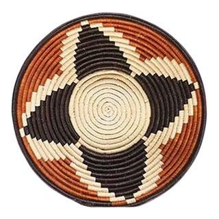 Uganda African Bukedo & Raffia Bowl - Orange Cream and Black For Sale