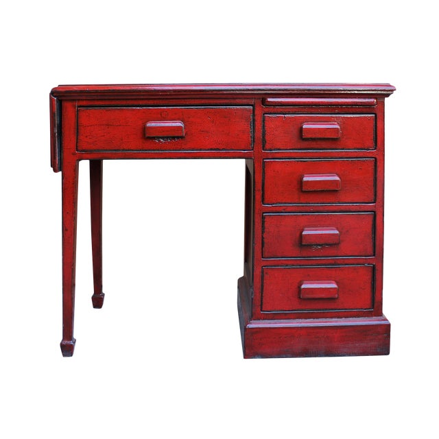 Chinese Distressed Red Writing Desk With Side Flip Up Slide Table Drawers