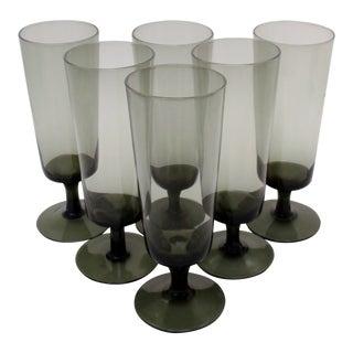 Italian Smoke Glass Flutes, Set of 6 For Sale