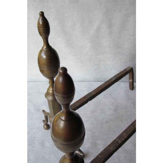 Brass & Iron Lemon Top Andirons - A Pair - Image 3 of 11