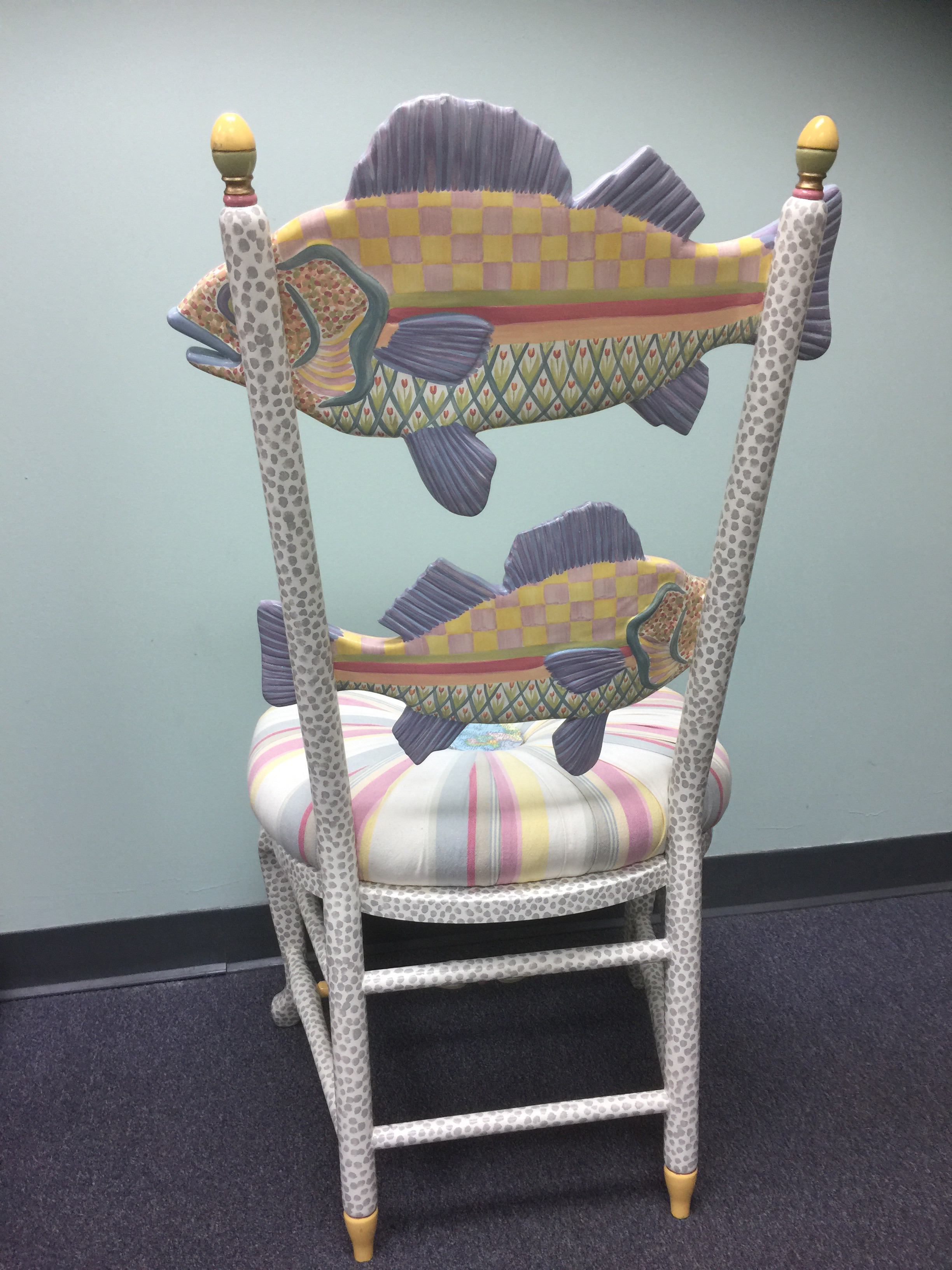 MacKenzie Childs Decorative Speckled Fish Chair   Image 3 Of 6