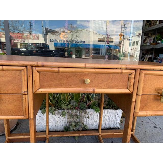 Mid-Century Vintage Bamboo Trimmed Desk For Sale - Image 4 of 11