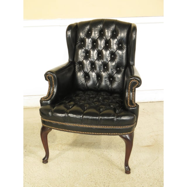 English Traditional English Tranditional Black Tufted Leather Wing Chair and Ottoman For Sale - Image 3 of 13