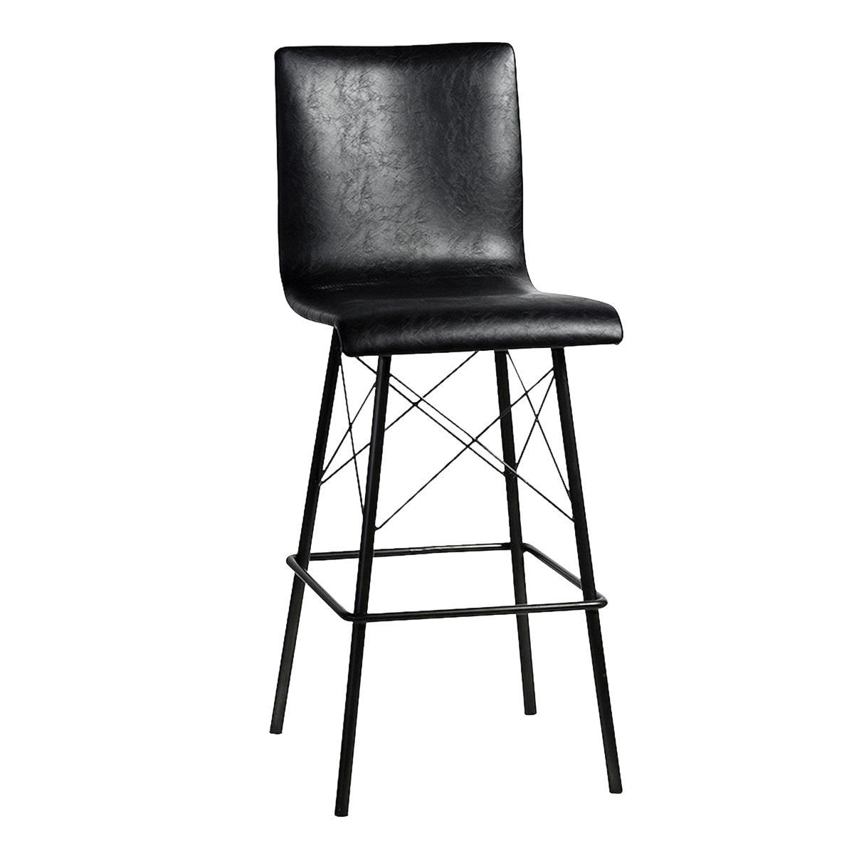 Black Leather Amp Iron Bar Stool Chairish