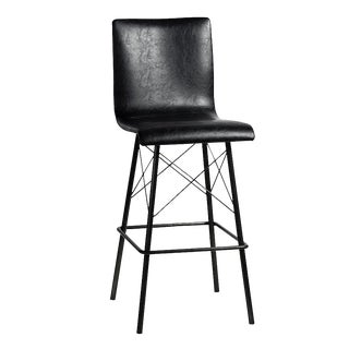 Black Leather & Iron Bar Stool For Sale