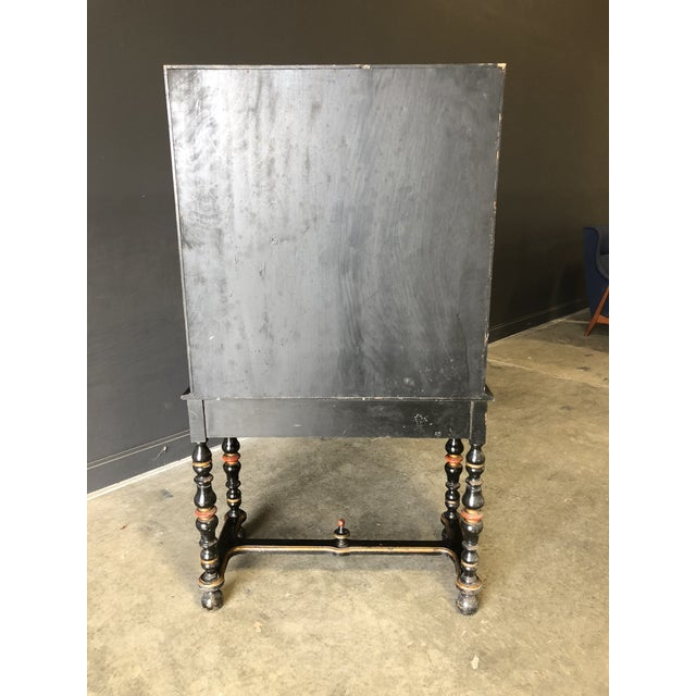 1920s Antique Black Lacquer Chinese Cabinet For Sale - Image 10 of 11