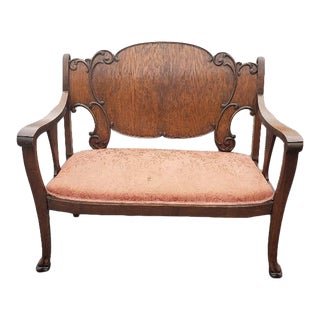 Vintage Mid Century Brown Wood Settee For Sale