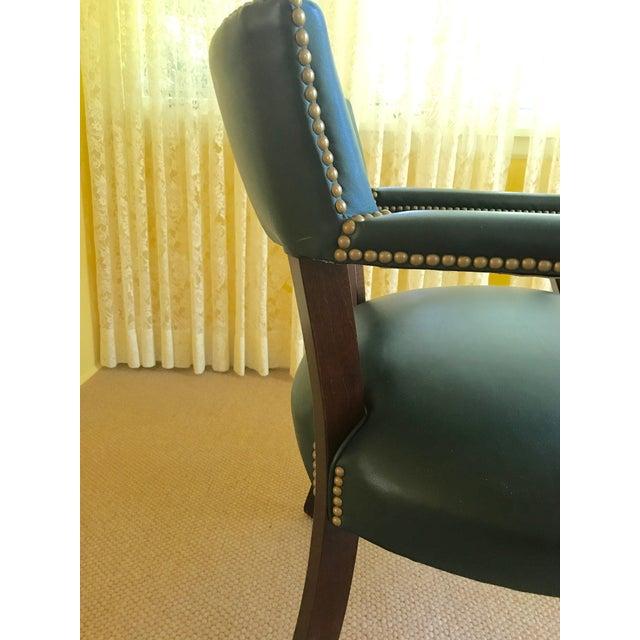 Green Mid Century Studded Green Leather Library Club Chair For Sale - Image 8 of 8