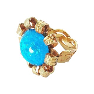 1980s Blue Cabochon Rhinestone Adjustable Ring For Sale