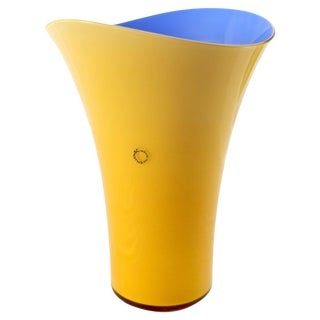 Asymmetric Murano Glass Vase by v. Nason & C., Italy, Blue and Yellow For Sale