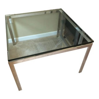 "Vintage 1970s Mid Century Modern Solid Chrome Glass Top 32"" Square Coffee Table For Sale"