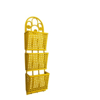 Vintage Yellow Wicker Wall Letter Holder and Key Rack For Sale
