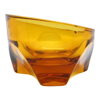 1960's Mid-Century Thick Cut Asymmetrical Amber Glass Ashtray For Sale
