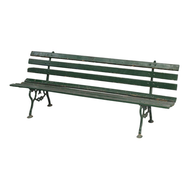 Antique French Cast Iron & Wood Garden Bench For Sale