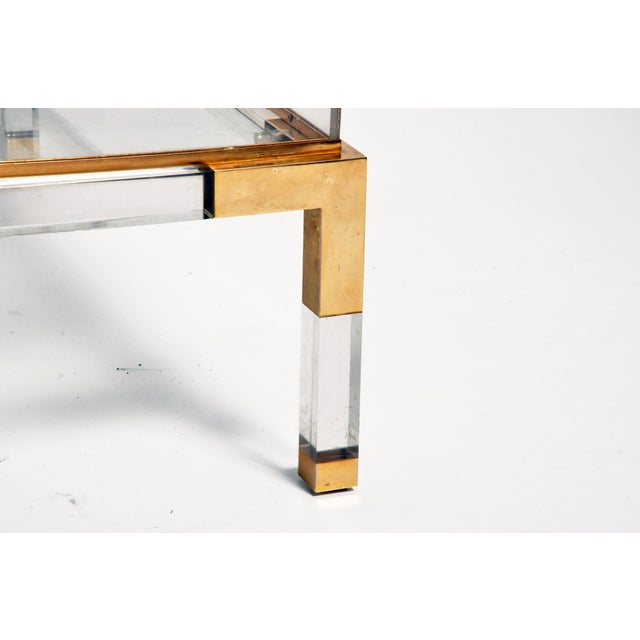 Vintage 1970s Sliding Glass Top Coffee Table Attributed to Maison Jansen For Sale - Image 12 of 13