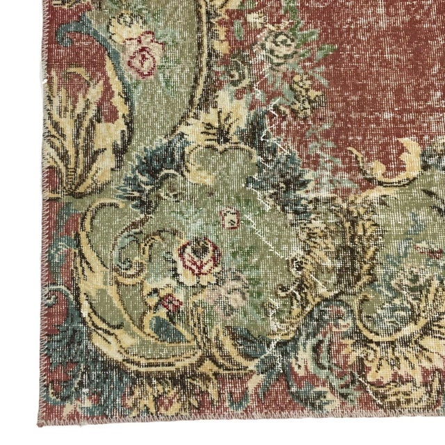 Art Deco Art Deco Pink and Green Turkish Rug For Sale - Image 3 of 4