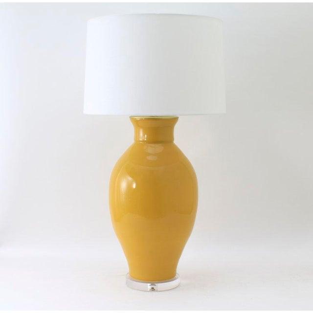 "Contemporary Paul Schneider Ceramic ""Matagorda"" Lamp in Glossy Mustard Glaze For Sale - Image 3 of 3"