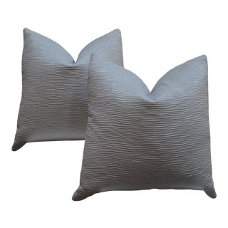 """Pair of Custom 22"""" Silver Gray Textured Pillows For Sale"""
