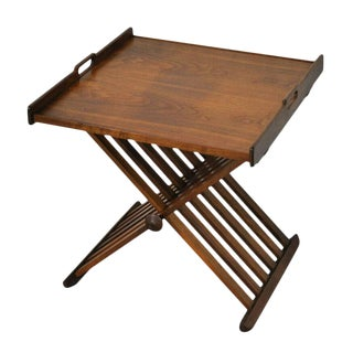 1960s Mid-Century Modern Drexel Stewart MacDougall Walnut Folding Tray Table For Sale