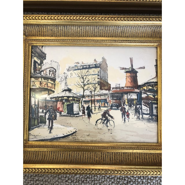French Scenes of Paris in Giltwood Frames -Set of 4 For Sale - Image 3 of 9