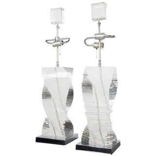 Pair of Stacked Lucite Helix Table Lamps For Sale