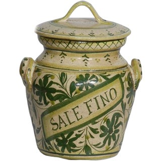 Italian Hand Painted Ceramic Sale Fino Canister For Sale