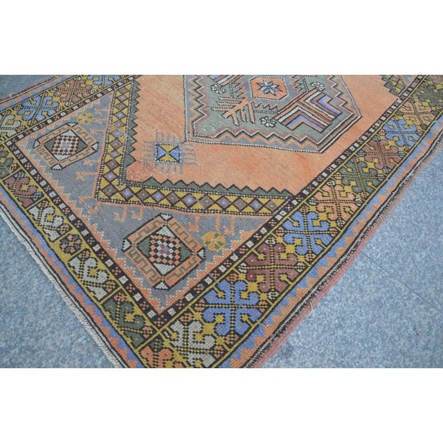 Turkish Oushak Antique Wool Rug - 3′6″ × 5′6″ For Sale - Image 9 of 11