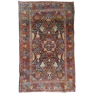 1880s, Handmade Antique Persian Dabir Kashan Rug 4.1' X 6.2' For Sale