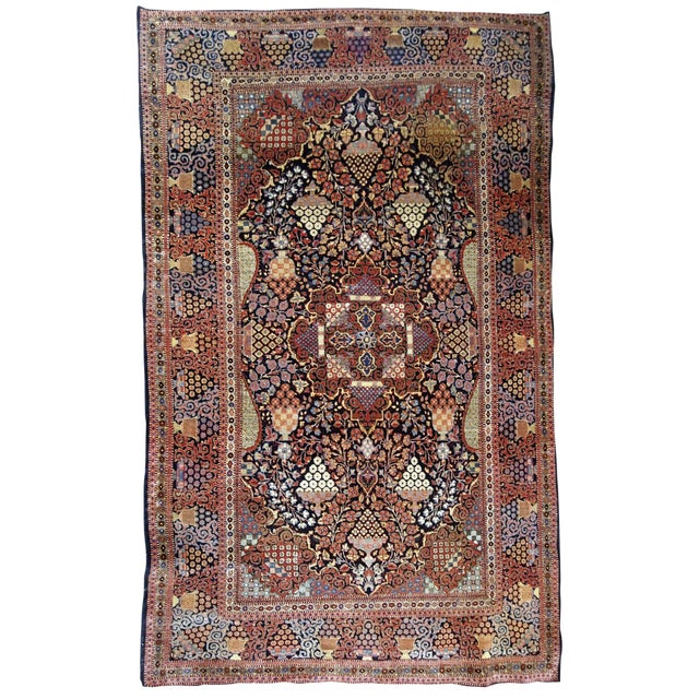 1880s, Handmade Antique Persian Dabir Kashan Rug 4.1' X 6.2' For Sale
