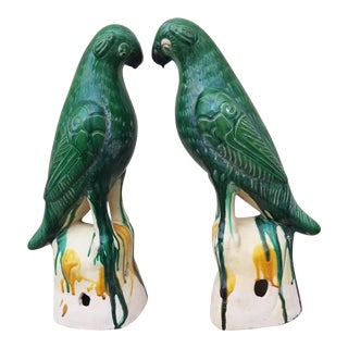 Pair 18 Inch Architectural Chinese Parrot Roof Finials For Sale