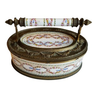 Unusual Bronze Mounted Sevres Box For Sale