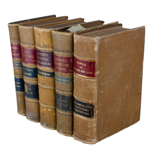 Set of five early edition Hornbrook Series law books. Hughes on Admirality 2nd edition Black's Constitutional Law, 3rd...