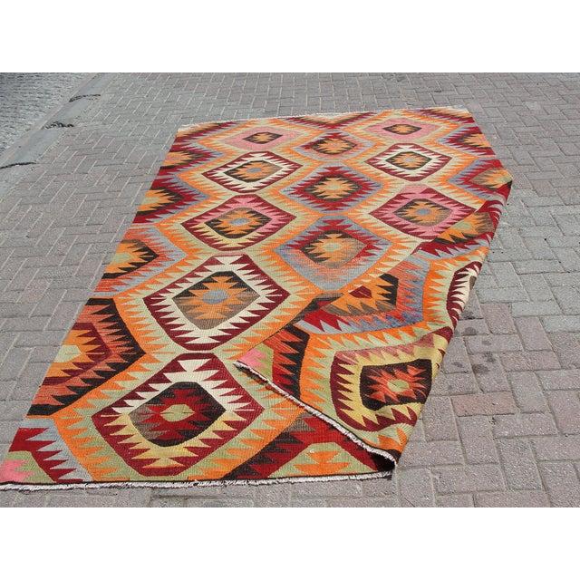 Vintage Turkish Kilim Rug - 6′6″ × 10′3″ For Sale - Image 11 of 11