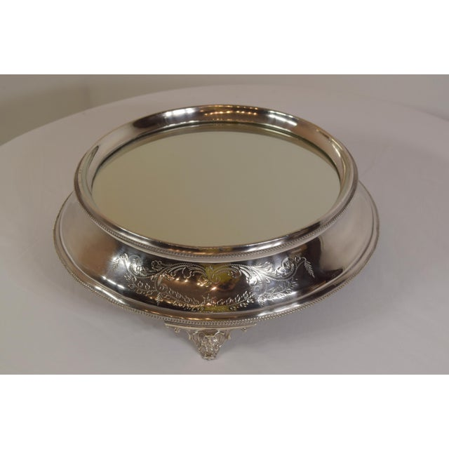Silver Late 1900's English Silver Plate Engraved Round Mirror Plateau For Sale - Image 8 of 8