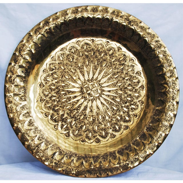 Vintage Moroccan Brass Tray - Image 2 of 8