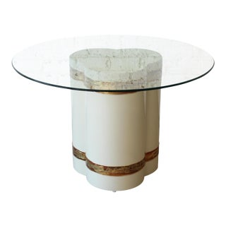 Bernhard Rohne for Mastercraft Acid Etched Brass Cream Lacquered Pedestal Dining Table