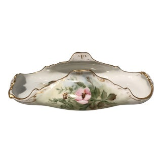 Early 20th Century Antique Gilded Ceramic Limoges Toast Tray For Sale