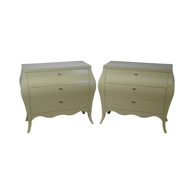 Drexel Heritage Yellow Painted Bombe Chests - A Pair - Image 1 of 10
