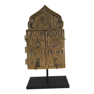 Antique Religious Brass and Enamel Icon For Sale