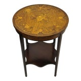 Image of French Edwardian Floral Marquetry Satinwood Inlay Round Accent Table For Sale