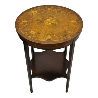 French Edwardian Floral Marquetry Satinwood Inlay Round Accent Table For Sale